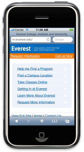 Everest mobile website optimized for more than just smart phones.